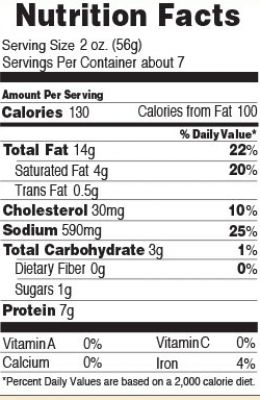 Nutrition facts for Beef Ring Bologna 14 oz.
