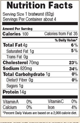 Nutrition facts for 100 Calorie Chicken Brat 12 oz.