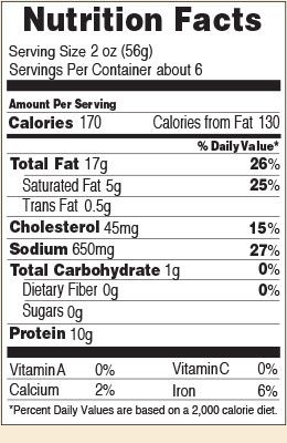 Nutrition facts for Original Summer 12 & 20 oz.