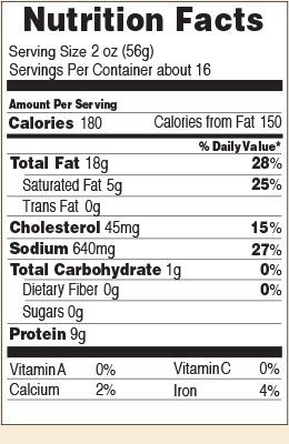 Nutrition facts for Smoky Valley Summer 32 oz.