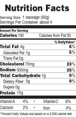 Nutrition facts for 100 Calorie Italian Chicken Sausage 12 oz.